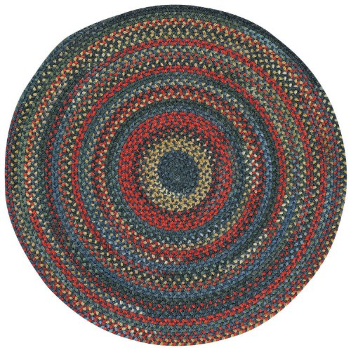 Capel Rugs High Rock Round Braided Area Rug, 3', Blue