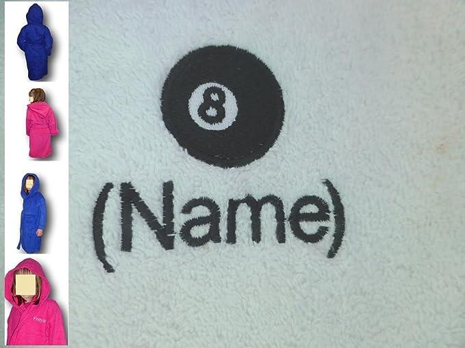 Albornoz con capucha infantil con un 8 bolas de billar Logo y ...