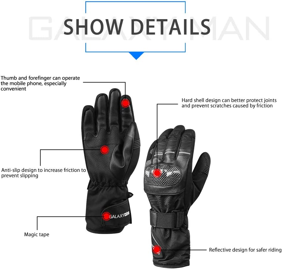 L Galaxyman Winter Motorcycle Gloves Warm Waterproof Gloves with Hard Knuckle Protection for Motorbike Riding ATV Scooter Snowmobile Outdoor
