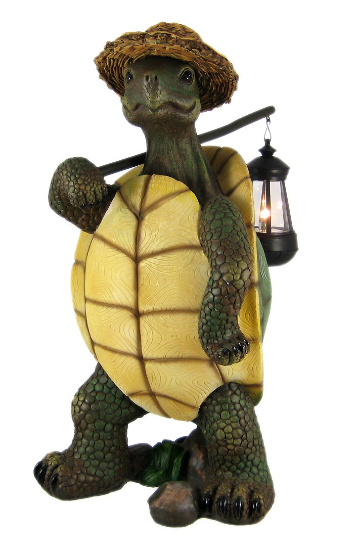 Funny Country Turtle W/ Lantern Statue Outdoor Figure by World Of Wonders
