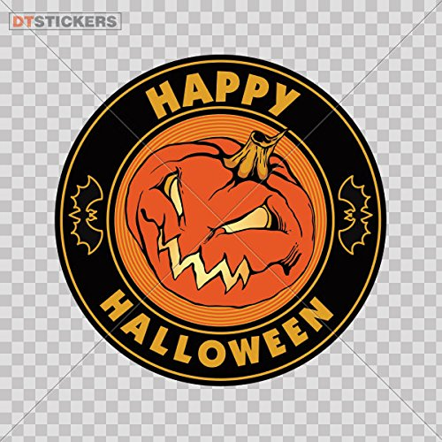Decoration Vinyl Sticker Happy Halloween Pumpkin Decoration Motorbike (6 X 6 In. ) Fully Waterproof Printed vinyl -