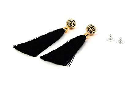 Black Tassel Earrings with Gold Rose and Diamante Feature UK qRHsWIhcV5