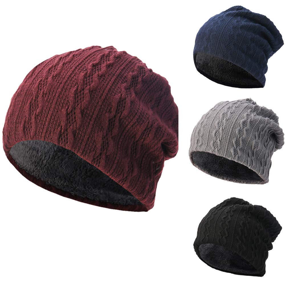 BSGSH Unisex Soft Slouchy Beanie Pentagram Printed/Solid Winter Comfortbale Ski Baggy Hat for Men Women (Wine Red B) by BSGSH (Image #1)