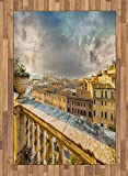 Italian Area Rug by Lunarable, Panoramic View of the Historic Center of Rome from Ancient Balcony Aerial, Flat Woven Accent Rug for Living Room Bedroom Dining Room, 4 x 6 FT, Yellow Pale Brown