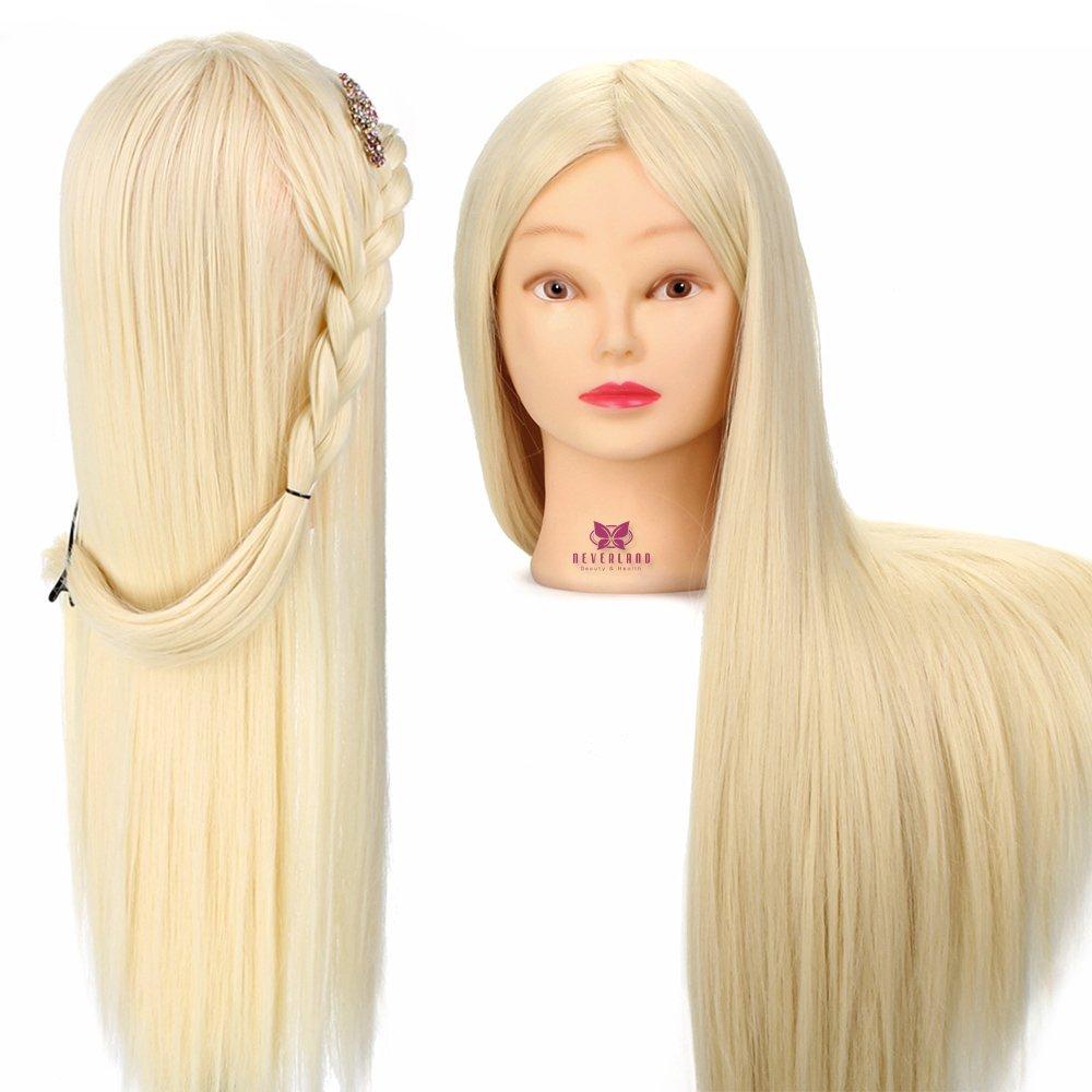 Neverland - Testa di manichino per pratica parrucchiere, con morsetto