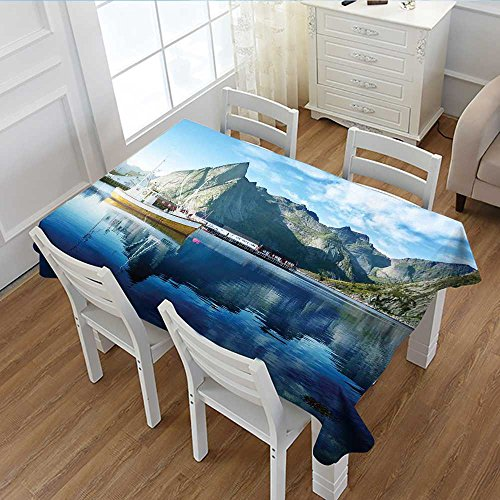 Arctic Sun Tabletop (Davishouse European Rectangular Tablecloth Sunset in Norwegian Lake by Fjords Formation Yacht Fishing Arctic Harbor Island Print Oblong Wrinkle Resistant Tablecloth Blue 52