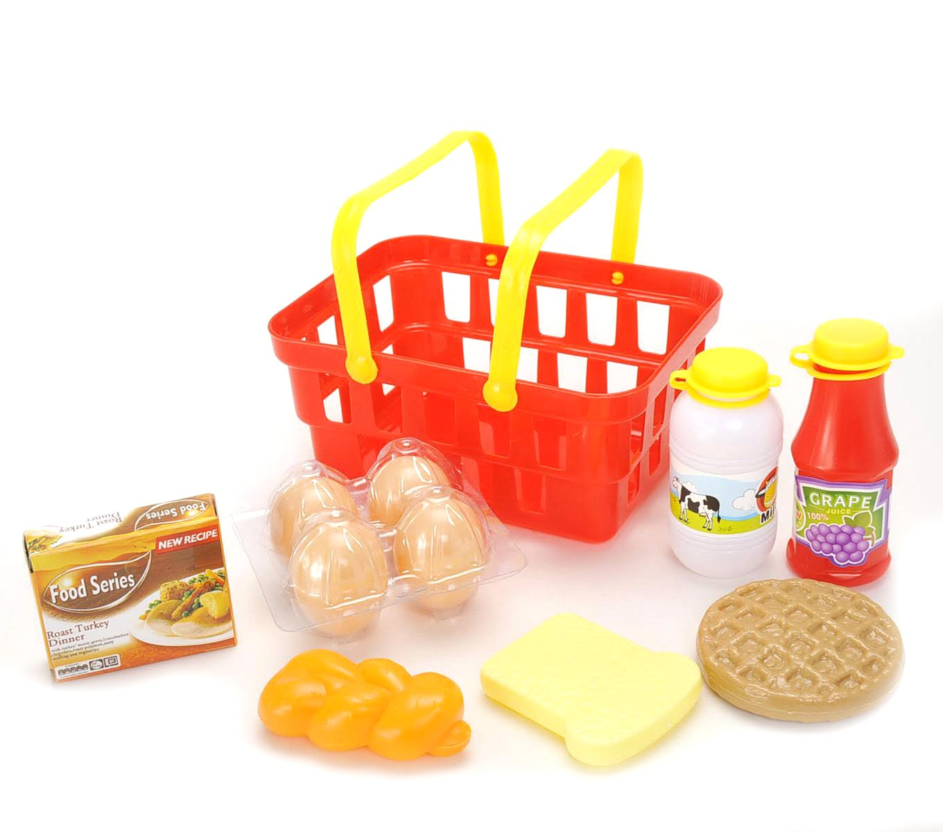 COTTONTAIL Kids Pretend Play Breakfast & Lunch Play Food Set with Basket