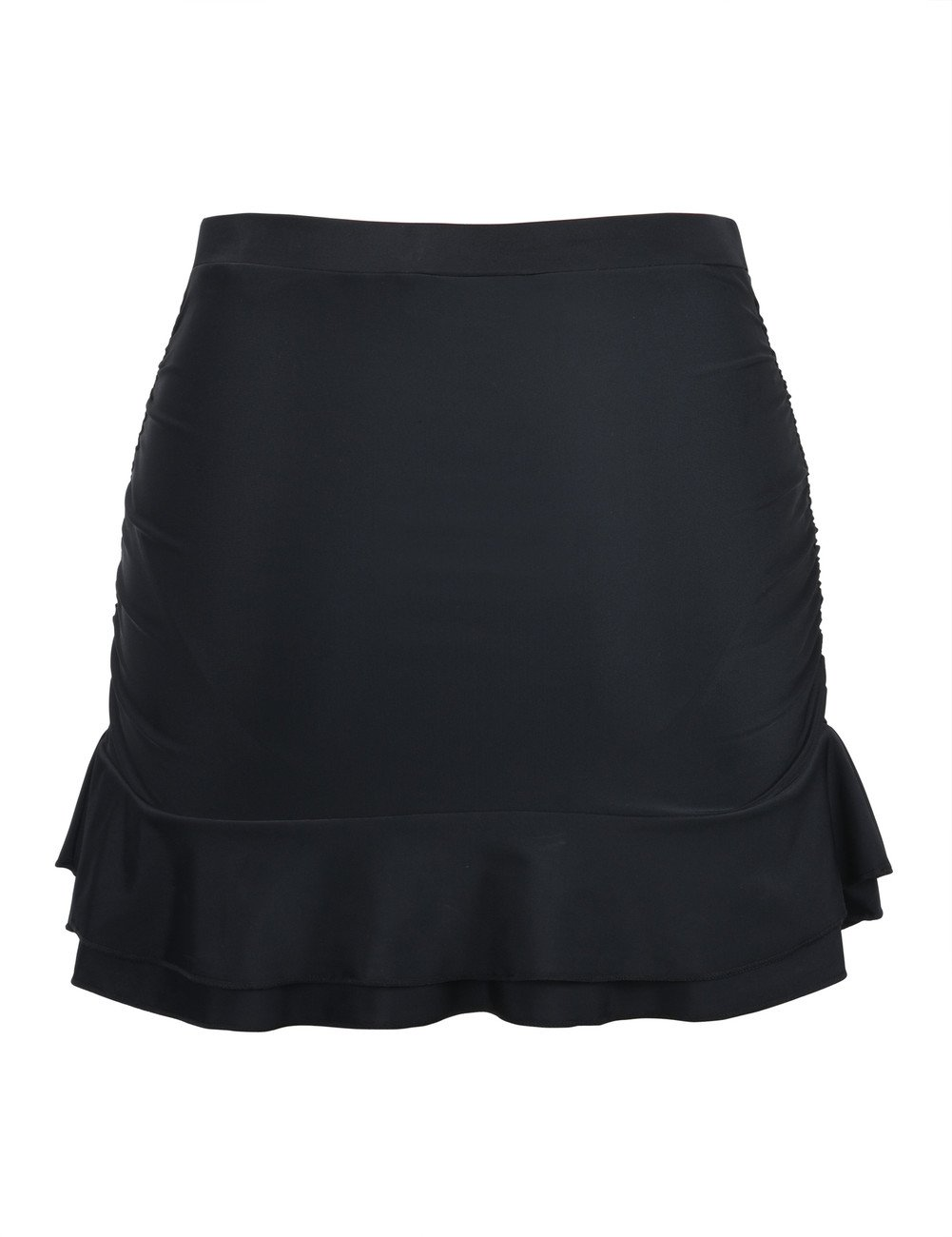 Hilor Women's Skirted Bikini Bottom High Waisted Shirred Swim Bottom Ruffle Swim Skirt Black 10(fits 6) by Hilor (Image #3)