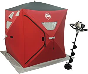 Nordic Legend 33cc Power Ice Auger and Portable Two Man Shelter Combo