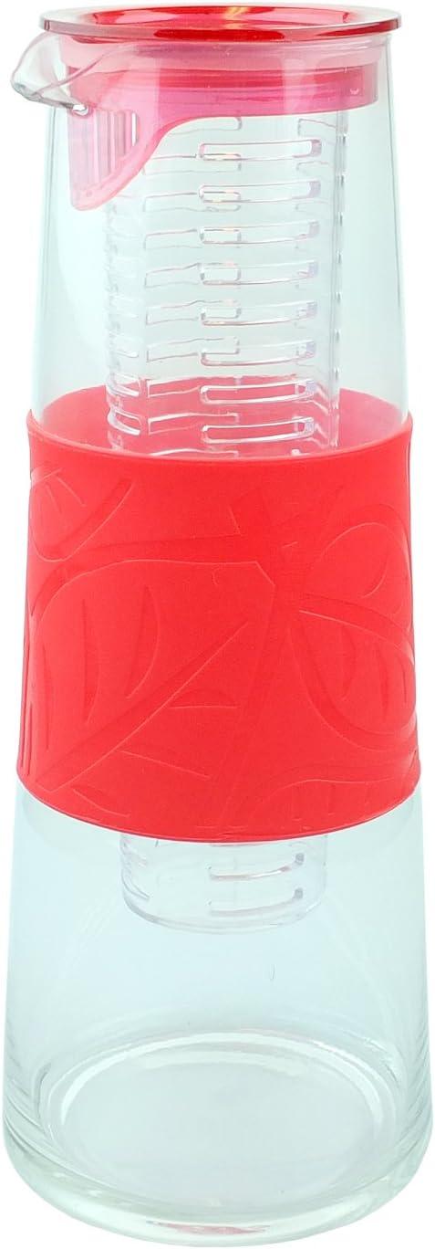 le jus la sangria Gadget Zone UK/® Carafe en verre 1 l le th/é Canne /à perfusion sans BPA Certifi/é CE bleu Pichet en verre avec couvercle et noyau dinfusion de fruits Parfait pour leau
