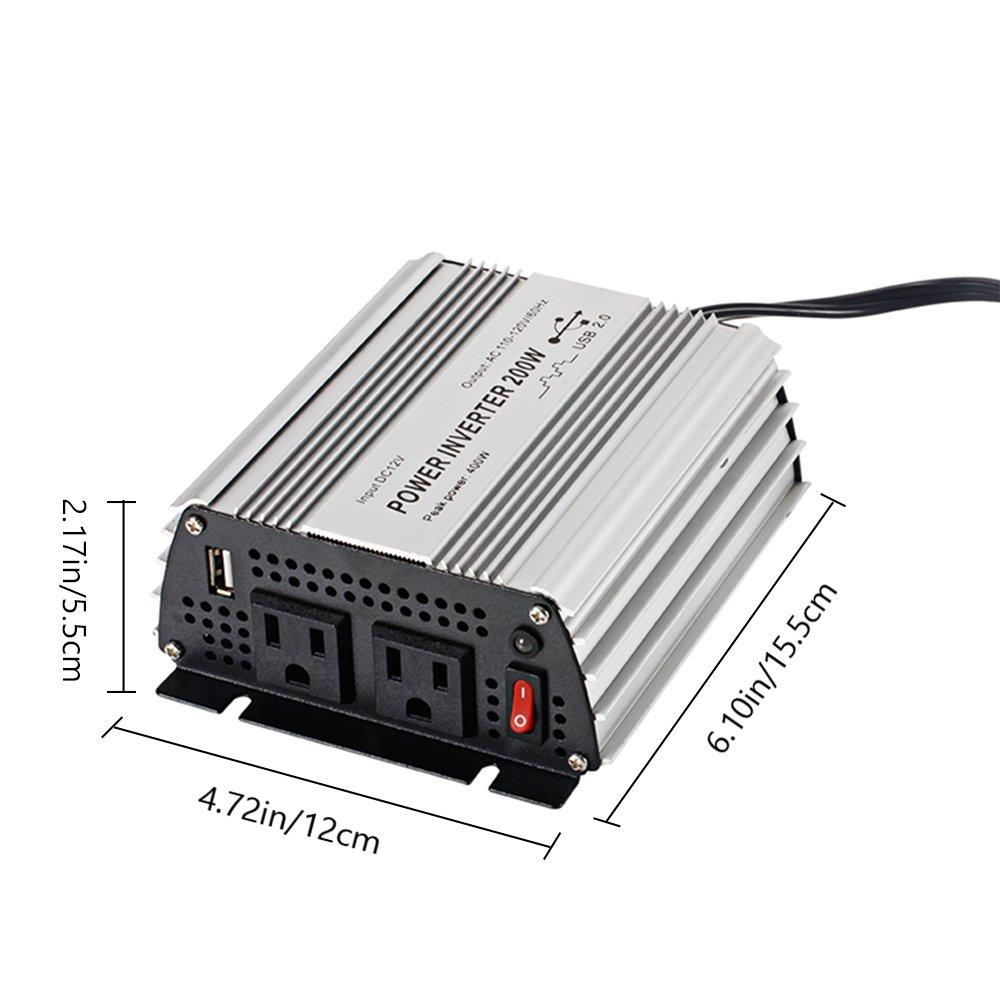E-LION 200W Power Inverter DC 12V,Output 110V-120V AC Car Inverter with USB Car Adapter by E-LION (Image #3)