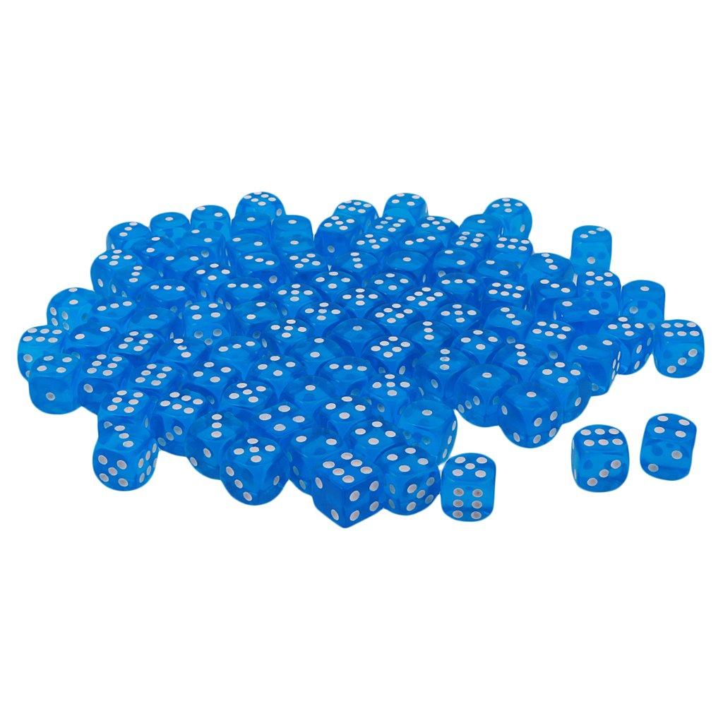 FITYLE 100er-Set 16mm Multicolor Acryl D6 Sechsseitig Würfel - Blau