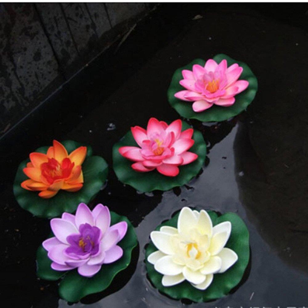 Huele 5pcsset Floating Artificial Lotus Flowers Decor Floating