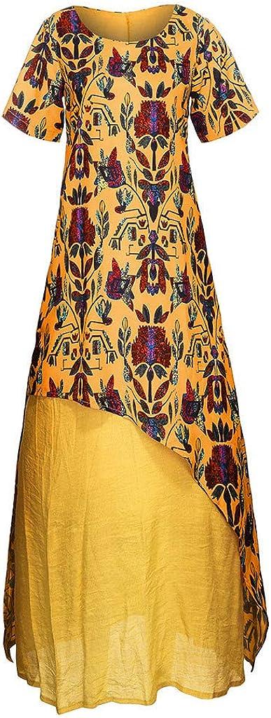 Exteren Women Ethnic Print Fake Two Piece Short Sleeve O-Neck Plus Size Maxi Dress Pocket