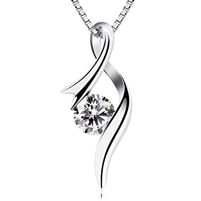 04c868593 B.Catcher Necklaces 925 Sterling Silver Pendant Necklaces Cubic Zirconia  Twist Heart Jewellery: Amazon.co.uk: Jewellery