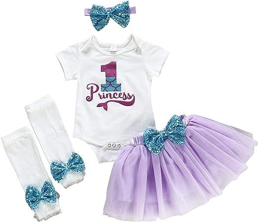 4pcs Girl Baby Headband Princess Romper 1st Birthday Outfit Shoes Tutu Skirt Set