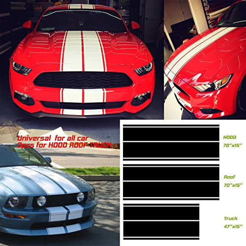 (Universal fit for all cars 1Set/3Pairs Vinyl Racing Stripe Decal Sticker for Car Decoration Fender, Hood, Roof, Side, Trunk, Skirt, Bumper of Racing Rally Stripes Stripe Graphics Decal)