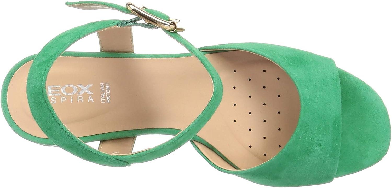 Geox dames D Ortensia Mid Sandalo C Peepto-sandalen Groen C3000