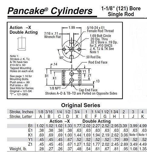 "Fabco-Air G-121-X Original Pancake Cylinder, Double Acting, Maximum Pressure of 250 PSI, 1-1/8"" Bore Diameter x 1-1/2"" Stroke"