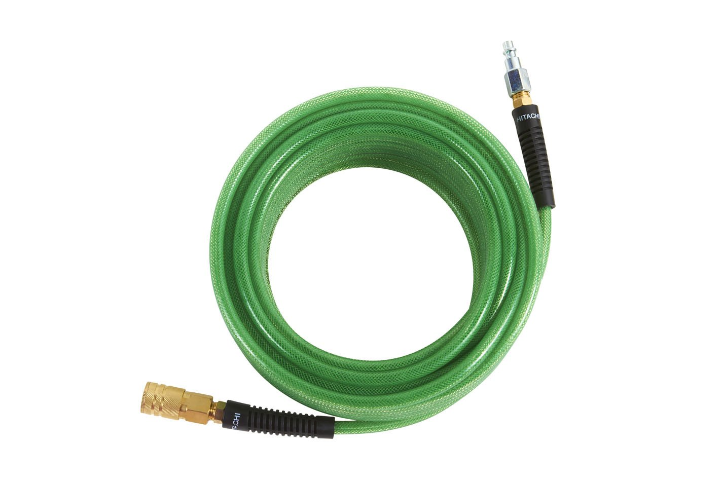 Hitachi 115155 Professional Grade Polyurethane Air Hose with 1/4'' Industrial Fittings, 1/4'' x 50', Green