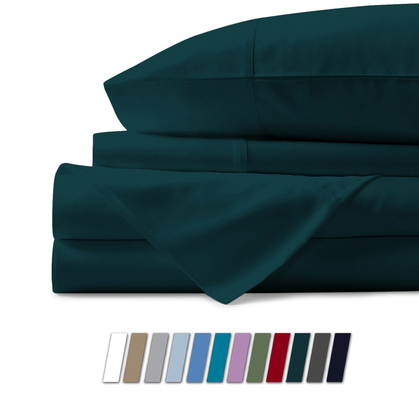Mayfair Linen 100% Egyptian Cotton Sheets, Teal King Sheets Set, 600 Thread Count Long Staple Cotton, Sateen Weave for Soft and Silky Feel, Fits Mattress Upto 18'' DEEP Pocket