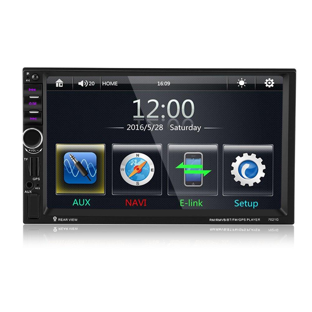 Qiilu Reproductor MP de coche Pantalla Táctil HD Bluetooth GPS Radio FM