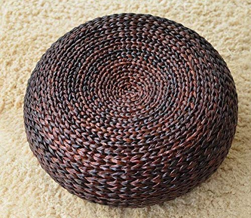 Handcrafted Eco-Friendly Brown Color Knitted Straw Seat Natural Banana Bark futon/Pouf Ottoman (Dark Brown, Diameter 50cm)
