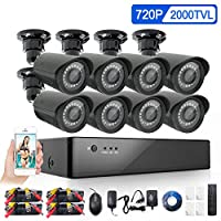 YIMODO HD Security Camera System 1080H 4 Channel DVR Outdoor Indoor Weatherproof Surveillance Camera System with 115ft IR Night Vision LEDs
