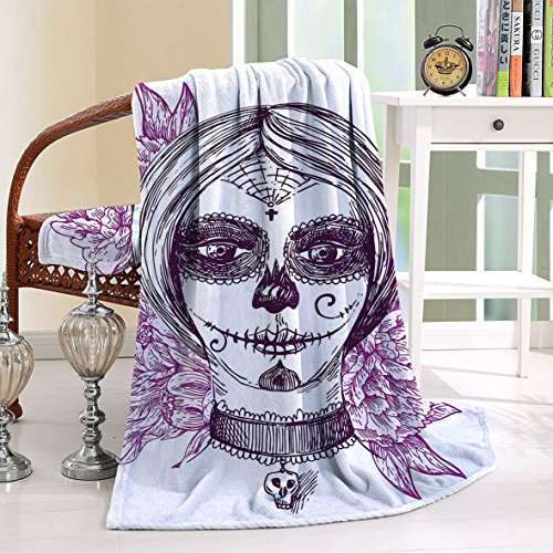 HAIXIA Throw Blanket Day Of The Dead Gothic Vampire like Dead Face Skull with Flowers Violet Purple and White