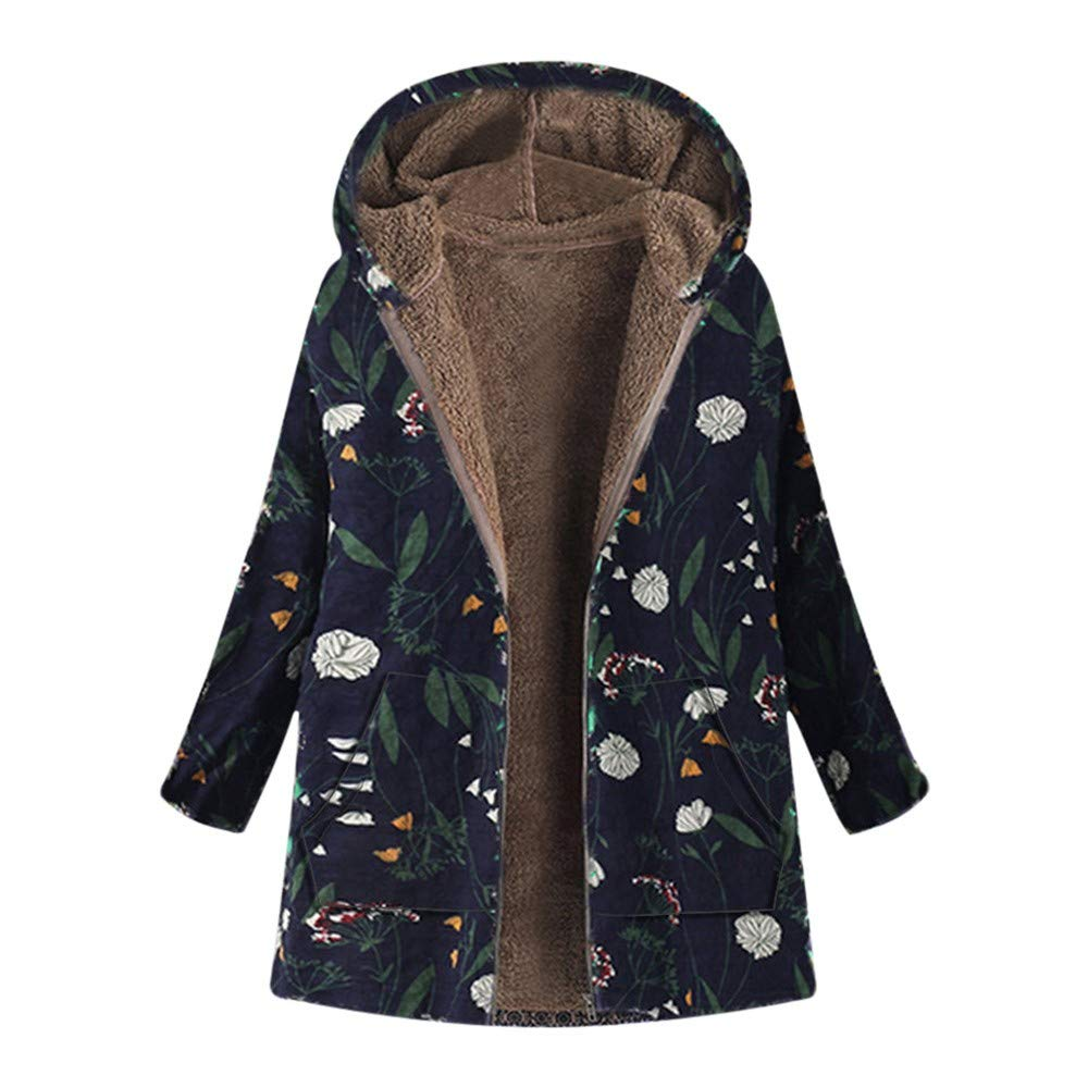 Womens Coats Parka Thick Fleece Floral Print Retro Plus Size Winter Warm Zipper Hooded Overcoat Jacket Navy by sheart 9