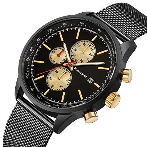 Black Stainless Steel Mesh Strap Mens Watch Chronograph Sport Wrist Date Quartz Wristwatch Navy Gold Face - Black Navy Wrist Watch