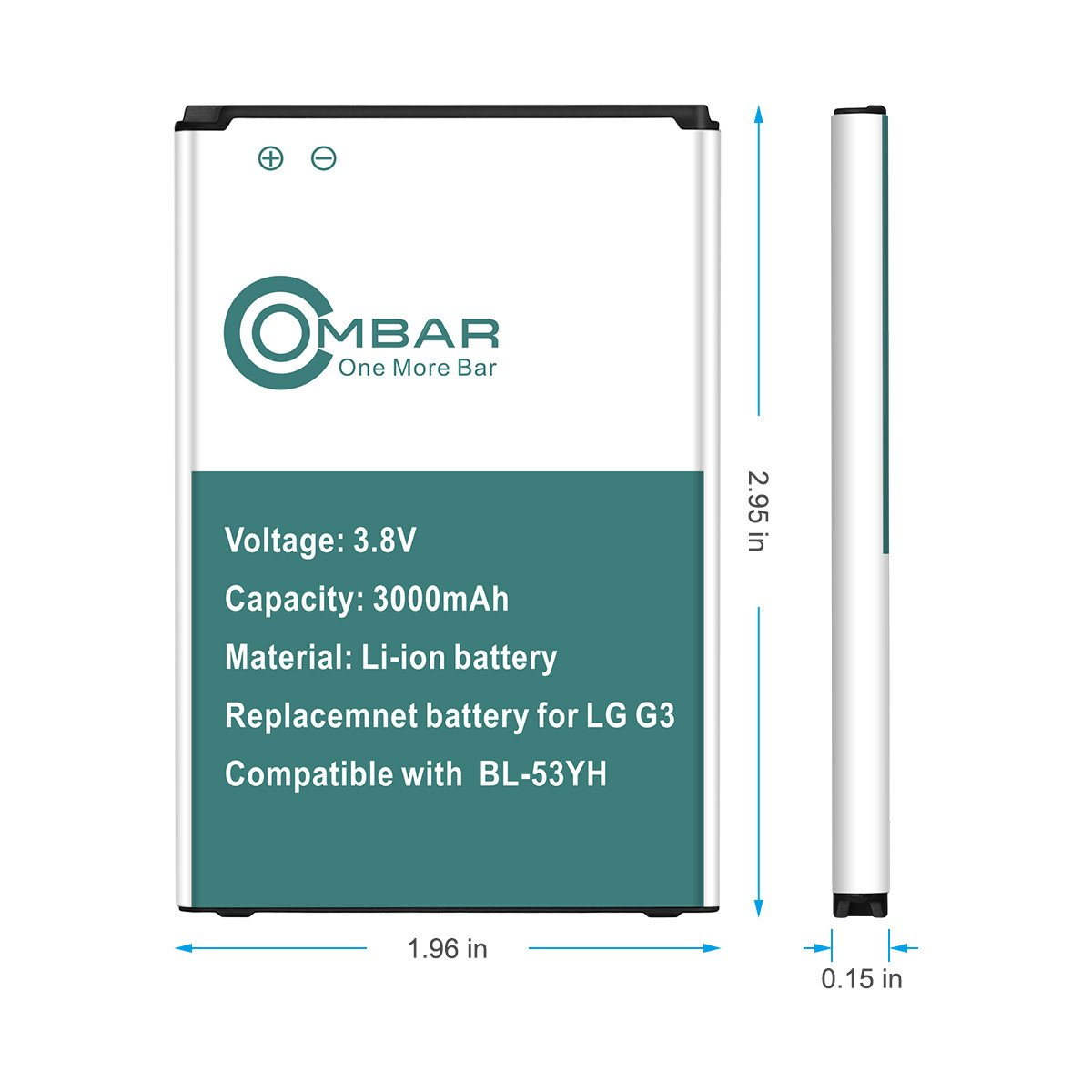 Ombar 3000mah Replacement Battery for LG G3, BL-53YH Battery, 12-Month Warranty