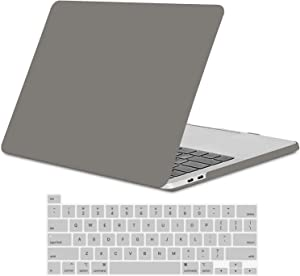 TECOOL 2020 MacBook Pro 13 Inch Case Model A2289 A2251, Slim Plastic Hard Shell Case & Keyboard Cover for MacBook Pro 13 Retina with Touch Bar Touch ID Release 2020, Matte Gray