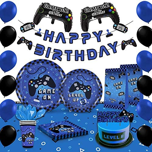 Blue Video Game Party Supplies – Gaming Party Decoration For Boys Birthday Party – Table Cover, Plates, Cups, Napkins, Utensils, Goody Bags, Swirls, Party signs, Birthday Banner & Balloons Serves 16 Guests