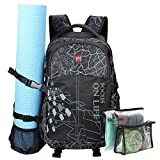 Yoga Mat Backpack-Sports Gym Bag Multi-Purpose Backpack for Outdoor Sports, Gym,Pilate,Travel,Hiking,School with Shoes Compartment (Yoga mat is not Included)