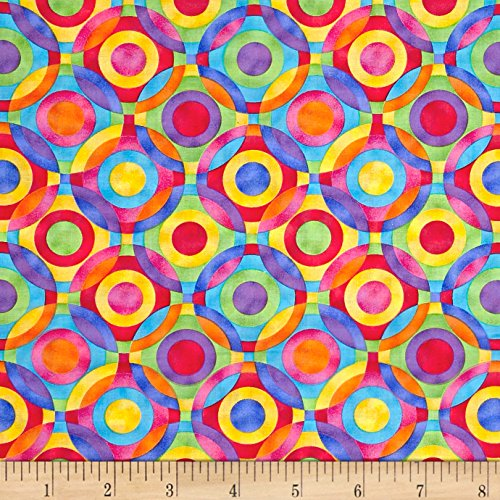 Fabric Traditions Rainbow Bright Geometric Circles Fabric by The Yard, Multi
