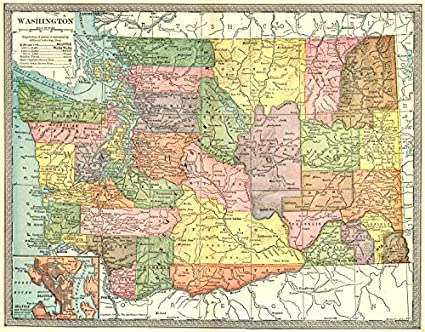 Amazon.com: WASHINGTON state map. Counties. Seattle environs ...