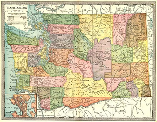 Amazon Com Washington State Map Counties Seattle Environs 1907