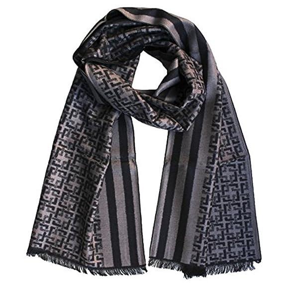 43fa82b9cf0 FERETI Echarpe Homme Soie Noir Khaki A Large Rayures Et Tartan Abstract  Carreaux Foulard Automne Hiver