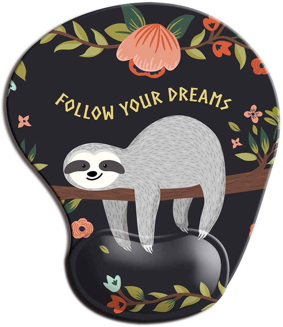 Dooke Ergonomic Mouse Pad with Wrist Support, Cute Mouse Pads with Non-Slip Rubber Base for Home Office Working Studying Easy Typing & Pain Relief Cute Sloth