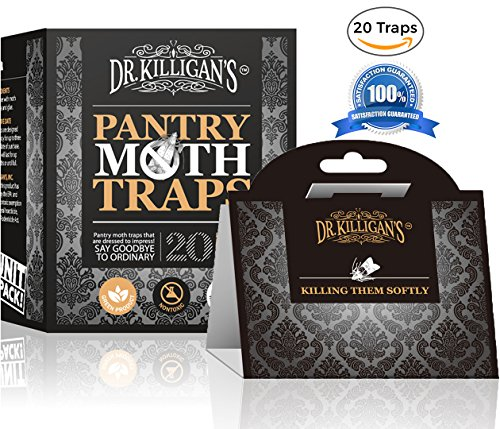 Dr. Killigan's Premium Pantry Moth Traps With Pheromone Attractant | Safe, Non-Toxic with No Insecticides | Pro Pack (20, Black (Moth Traps Pack)