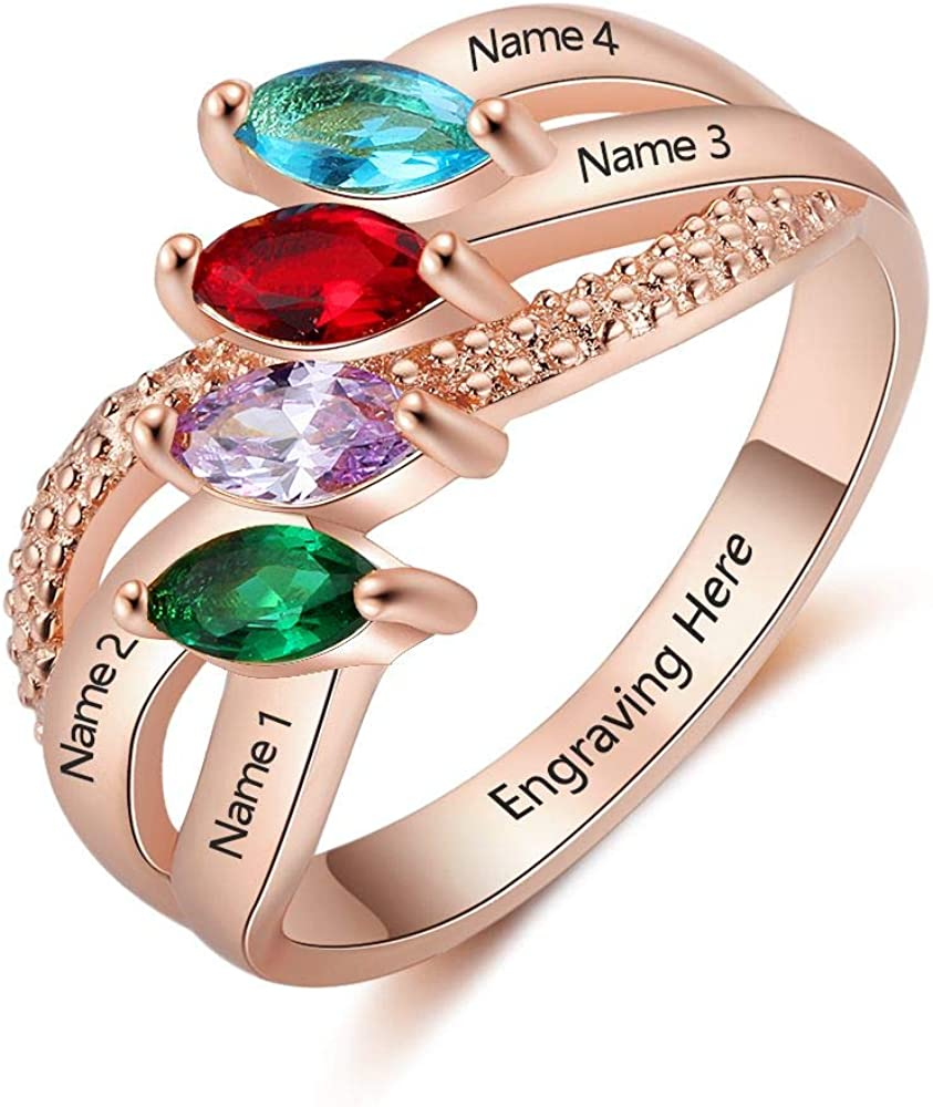 Lam Hub Fong Personalized Sterling Silver Mother Rings with 4 Simulated Birthstones for Women Promise Rings for Her BFF Rings Engraved Name Rings Mother's Day Rings for Mom