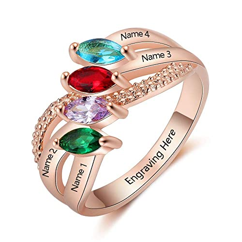 0218737087029 Lam Hub Fong Personalized Sterling Silver Mother Rings with 4 Children  Simulated Birthstones for Women Promise Rings for Her BFF Rings Engraved  Name ...
