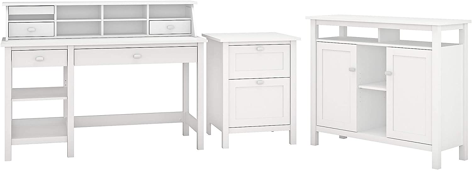Bush Furniture Broadview Computer Desk with Shelves, Organizer, File Cabinet and Console Table in White