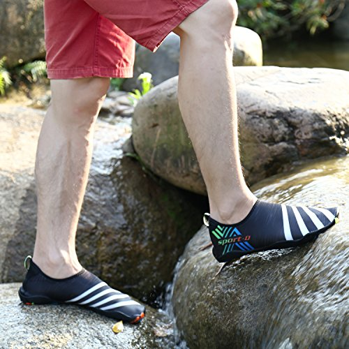 SAGUARO Badeschuhe Wasserschuhe Sommer Schnell Trocknend Schwimmschuhe Slip on Aquaschuhe Strandschuhe Für Damen Herren Black
