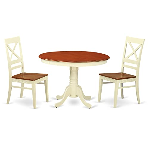 HLQU3-BMK-W 3 Pc set with a Round Small Table and 2 Leather Kitchen Chairs in Buttermilk and Cherry .