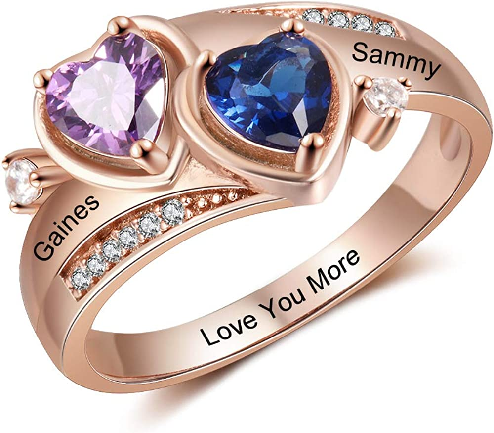 Wendy Made Personalized Promise Ring for Women with 2 Heart Simulated Birthstones Custom Family Mother Rings with Names Engraved