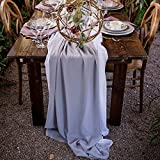 SoarDream 10 Pieces of Chiffon Table Runner 27''x120'' Gray Wedding Chiffon Table Runner Elegant for Reception Wedding Party Holiday Table Decor