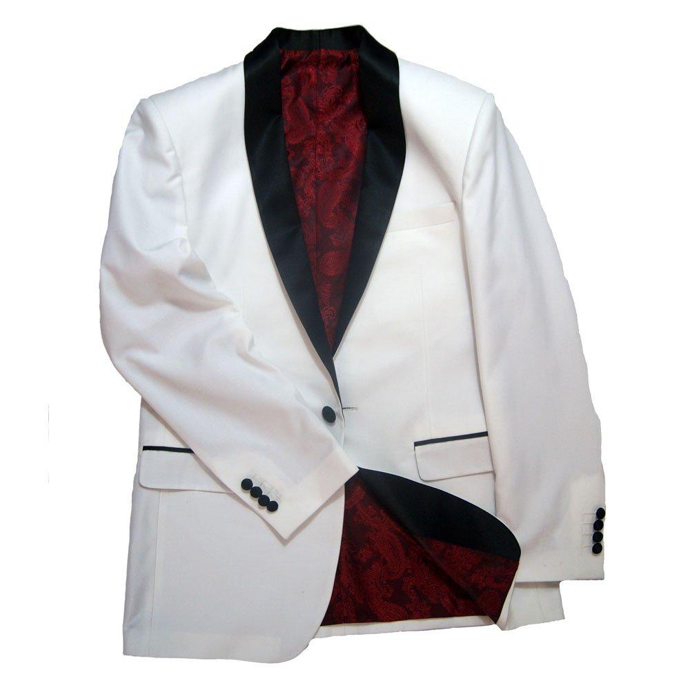 Tailorsun White Wool Blend Black Shawl Lapel Tuxedo 2 Piece Jacket and Pants