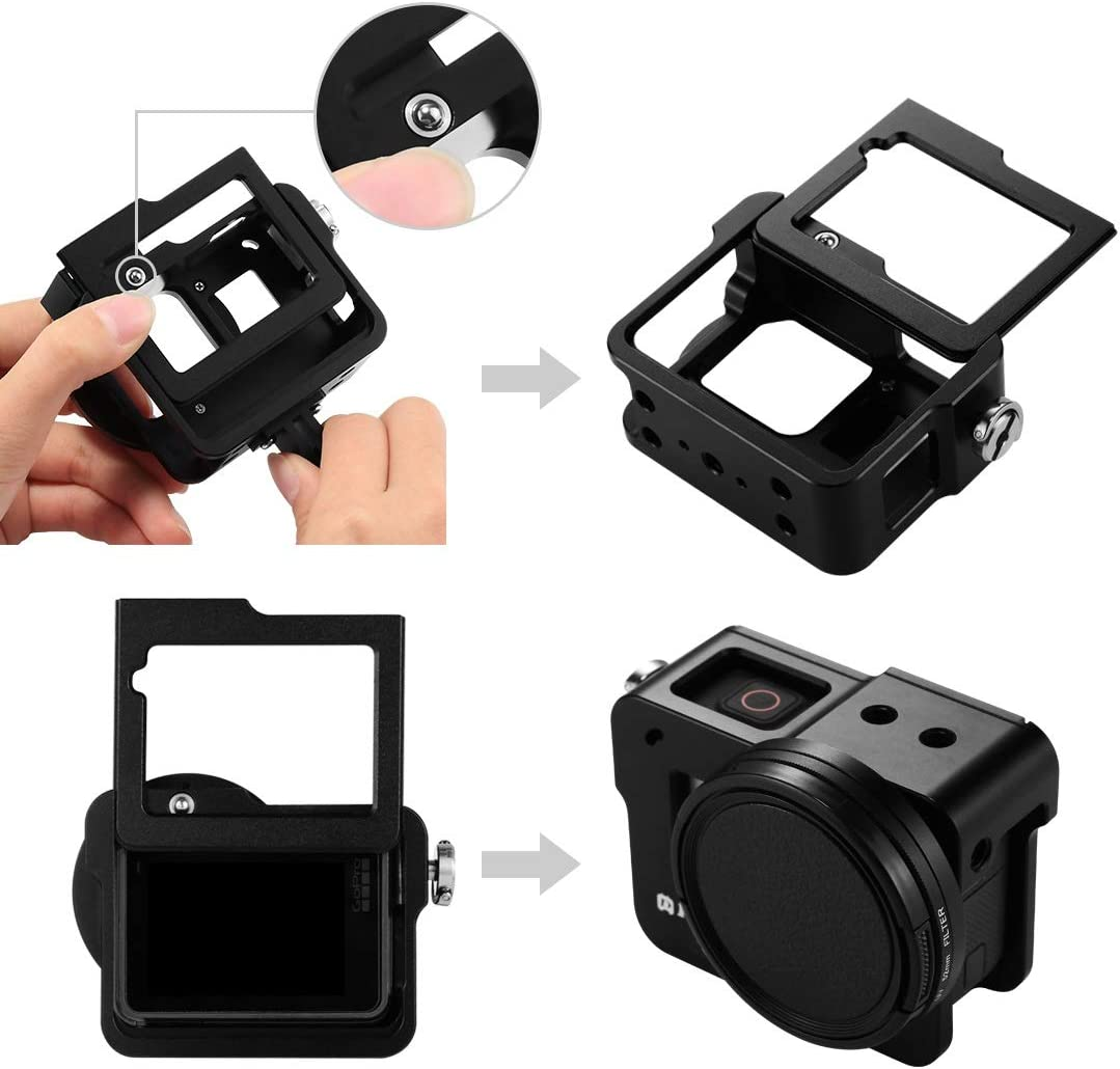 2018 CAOMING Housing Shell CNC Aluminum Alloy Protective Cage with Insurance Frame for GoPro Hero //7 Black //6//5 Durable Color : Black